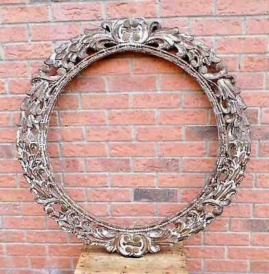 Magnificent Enormous Round Carved Wooden Frame Possibly From A Mirror / Painting