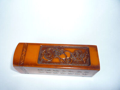 Large Chinese Chop Seal Carved Gourd & Writing Stamp
