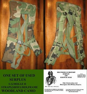 U.s.a. Surplus Molle Ii Straps Shoulder Frame  - Woodland Camo  Used Condition