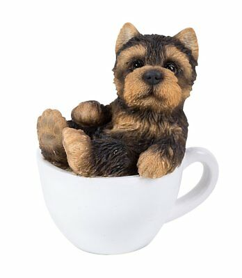 Cute Yorkshire Terrier Yorkie Puppy Dog Teacup Pet Pal Mini Figurine Statue