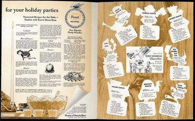 Puerto Rican RUM Alcohol Recipes 1950's & Rumster Cut-Outs Booklet Party Drinks