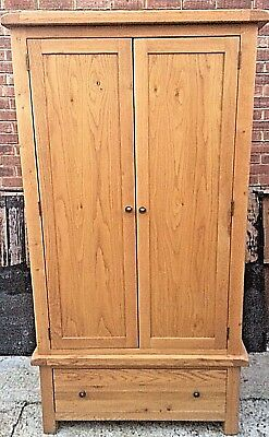 Solid Chunky  Oak Double  Wardrobe With Drawer