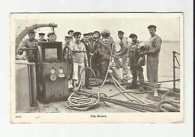 The Divers. Deep Sea Diving postcard. 1907 Maida Hill Vale. Gale & Polden Nelson