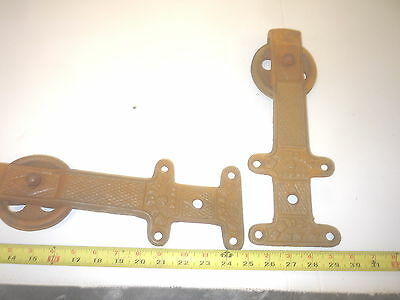 2 New Old Antique Type Rolling Barn Door Track Hanger Cast Iron