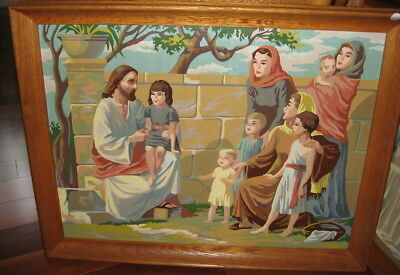 VINTAGE Oak Framed Paint by Number 1960s Jesus Christ The Story Teller