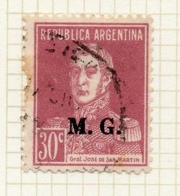 188369 Argentina Argentina 1936-38 Early Official Mh Optd Issue Fine Used 20c Stamps