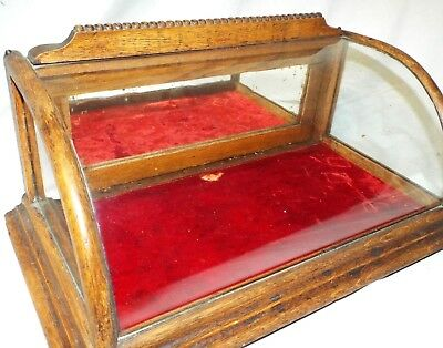 Old Antique CURVED GLASS SMALL OAK VICTORIAN Counter SHOW CASE GENERAL STORE