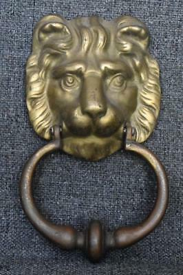 Handsome Vintage Heavy Brass Lion's Head Door Knocker W Original Screws