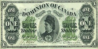PHOTO MAGNET  CANADA 1878 Dominion of Canada 1 dollar NOT A REAL BANKNOTE