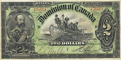 PHOTO MAGNET  CANADA 1897 Dominion of Canada 2 dollar bill NOT A REAL BANKNOTE