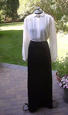 #B WOMENS 3 pc. VICTORIAN DICKENS COSTUME Long skirt ,blouse & Cameo sz Small