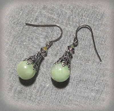 Silver Filigree Mint Green Jade Ab Crystal Earrings Victorian Edwardian Seafoam