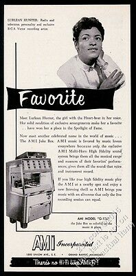 1956 AMI G jukebox Lurlean Hunter photo vintage print ad