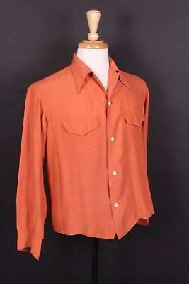 Vtg 50S Rockabilly Rayon Loop Collar Shirt Usa Mens Medium