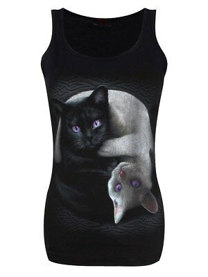 Yin Yang Cats Razor Back Women's Black Vest
