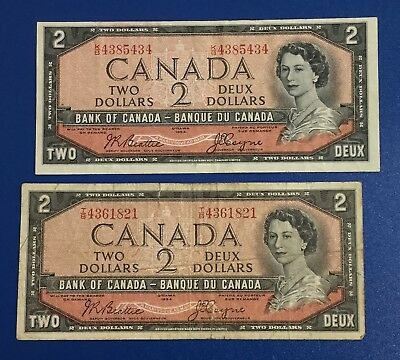 1954 $2 Canada RED DEUCES SEt of 2! Old Canadian Currency