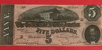1864 $5 US Confederate States of America Choice AU! Very Nice! Old Currency