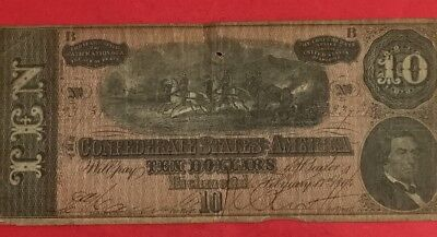 1864 $10 US Confederate States of America! Old US Paper MOney Currency