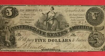 1861 $5 US Confederate States of America! FINE Crispness Harder to Find! Currenc