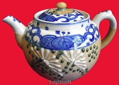Teapot Arita Japan Blue White Moriage Sharkskin Meiji Showa Period