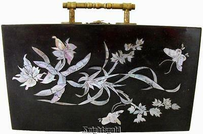 Jewellery Box Vintage Lacquer Mother Pearl MOP Inlaid Brass Handle 23 x 16 cm