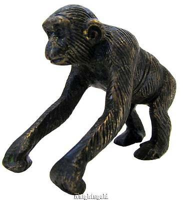 "Chimpanzee Chimp Monkey Bronze Statue Sculpture Figurine 7.5 cm / 3 "" Wide"
