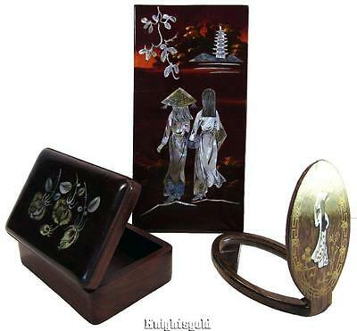 Hand Mirror Box Picture Vintage Enamel MOP Mother of Pearl Inlaid