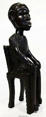 Ebony African Man on Chair Hand Carved Wood Vintage Tribal Tanzania 21cm /8""