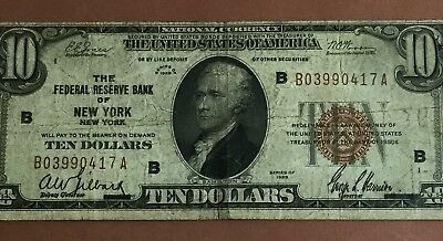 1929 $10 Brown Seal National Currency New York X417 VG Old US Paper Currency