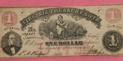1862 $1 RED US Virginia TREASURY NOTE LARGE SIZE Choice XF! Old US Currency