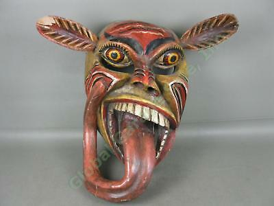 HUGE Vtg Antique Carved Wooden Wood Tribal Mask W/ Long Ears + Tongue Wall Decor