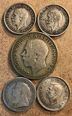 GREAT BRITAIN - Shilling & (4) 3 Pence Lot - Victoria, George V, George VI