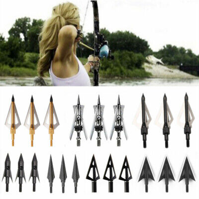 12Pcs Archery Broadheads Têtes de flèche Arrow Tips Pointes Heads Hunting