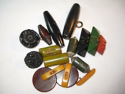 Vintage Button Toggles And Clasps-Wooden Bakelite Plastic-Unusual Variety
