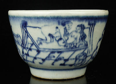 China Collectible Handwork Painting Body Art Blue And White Porcelain Cup