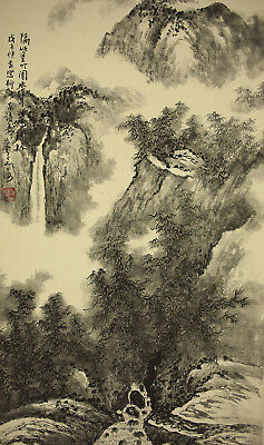 "Chinese Hanging Scroll : 翼雲 ""Waterfall Landscape""  @z878"