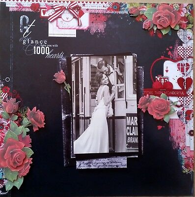 12 x 12 Handmade Scrapbook Page - At One Glance I Love You With 1000 Hearts