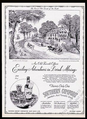 1945 Currier & Ives Home on the Mississippi art Southern Comfort print ad