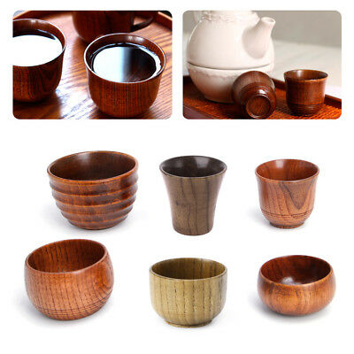 Small Handmade Natural Solid Wood Tea Cup Wooden Wine Coffee Water Drinking Mug