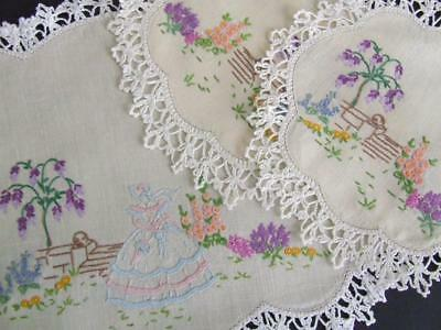 Gorgeous Vintage Hand Embroidered Duchess Set - Crinoline Lady in Cottage Garden