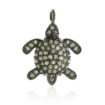0.58ct Pave Diamond Sterling Silver Turtle Design Charm Pendant Gift Jewelry