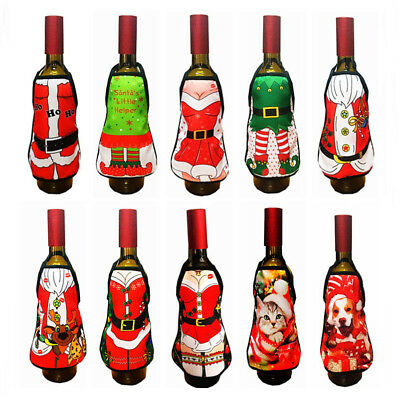 Merry Christmas Santa Wine Bottle Bags Cover Xmas Dinner Party Table Decor