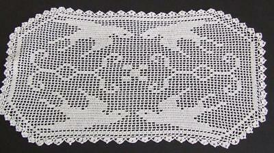 Beautiful White Vintage Hand Crocheted Centre - Filet Pattern Swallows in Flight