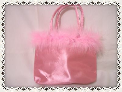 Little Girls Pink Purse with Pink Faux Fur Trim for ages 2 and up
