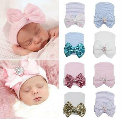 Newborn Baby Infant Girl Toddler Comfy Bowknot Hospital Cap Warm Beanie Hat