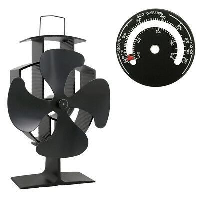 4 Blade Black Heat Powered Wood Burning Log Burner Stove Fan And Thermometer