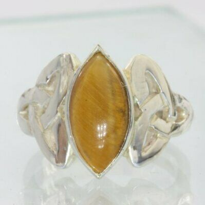 Tigers Eye Handmade Sterling Silver Tiger Eye Celtic Knot Unisex Ring size 9.25