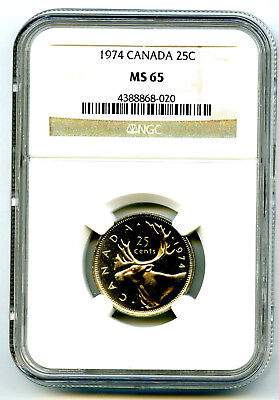 1974 Canada 25 Cent Ngc Ms65 Caribou Quarter Ms Top Population Only 27 Known