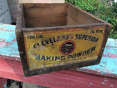 Vintage CLEVELAND'S SUPERIOR Baking Powder Wooden Dovetail Advertising Box Crate