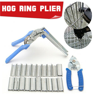 AU 3 in 1 Hog Ring Plier Tool Gun & 600Pcs Hand M Staple Mesh Cage Wire Fencing